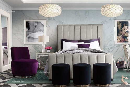 Venus Dream Light Grey Velvet Bed