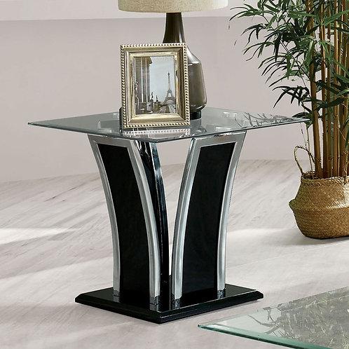 STATEN Imprad Glass/High Gloss Black Base w/Chrome Trim End Table
