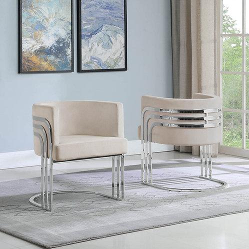 AC227 BestQ Beige/Silver Velvet Chair