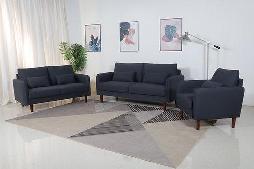 8153 Mg Black Linen Sofa+Loveseat+Chair