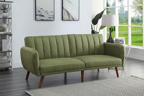 All BERNSTEIN 57194 GREEN LINEN & WALNUT FINISH Adjustable Sofa