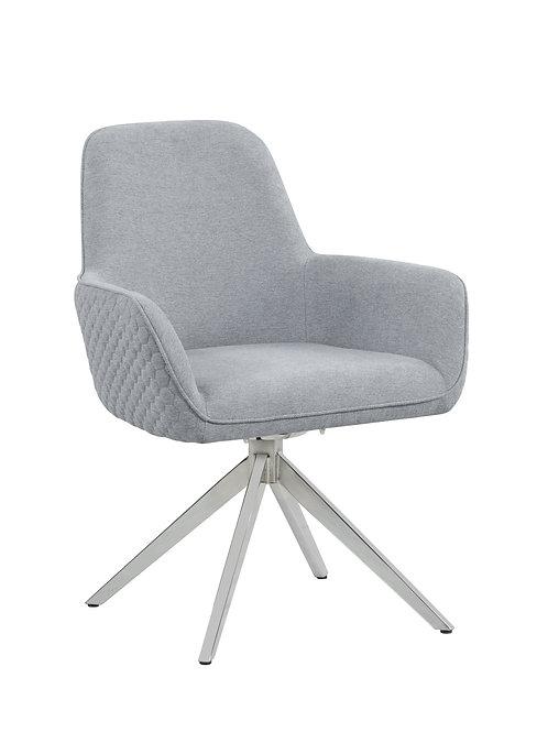 Abby Cali Arm Side Chair Light Grey And Chrome