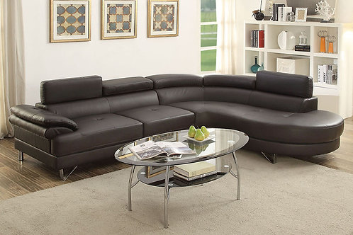 Espresso Faux Leather Sectional Port 6969