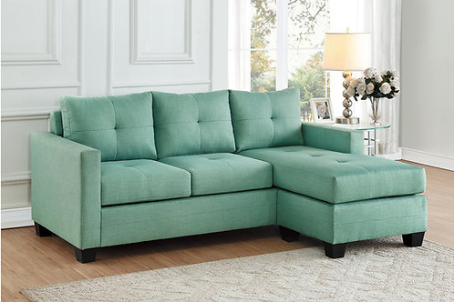 Henry Phelps Teal Fabric Reversible Sofa Chaise