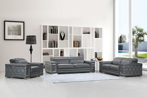 692 Geo Gray Italian Leather Sofa