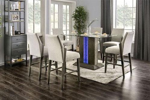 Imprad Turton II Contemporary Gray Glass Counter Ht. Dining Table