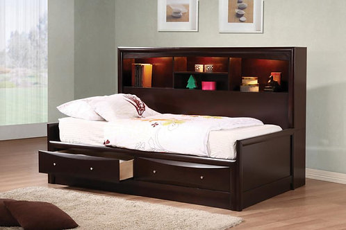 Phoenix Cali Daybed With Bookcase And Storage Drawers