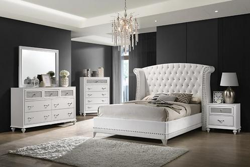 Cali Barzini Wingback White Tufted Bed
