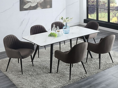 Caspian All Mid-Century White Faux Marble & Black Finish Legs Dining Table