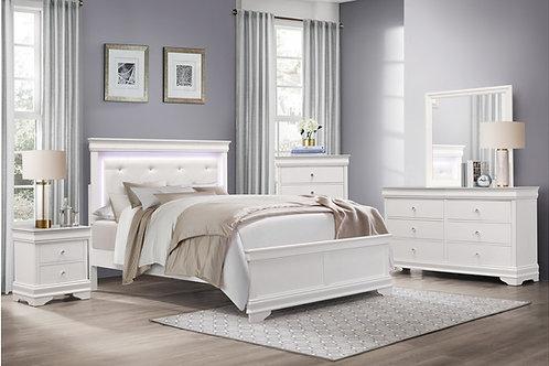 Henry Lana Traditional Glam White Alligator Texture w/LED Lighting Bed
