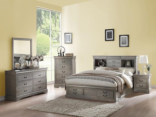 Louis Philippe All Bed w/Storage Antique Gray