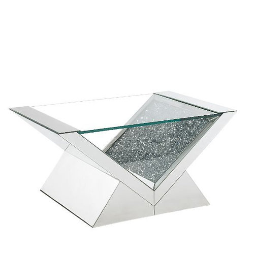 All Noralie 84725 Mirrored w/Faux Diamonds Coffee Table