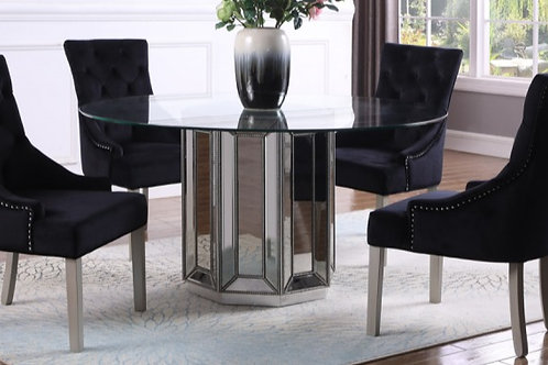 """T1803 Best Silver Mirrored Glass Top 54"""" Round Table"""