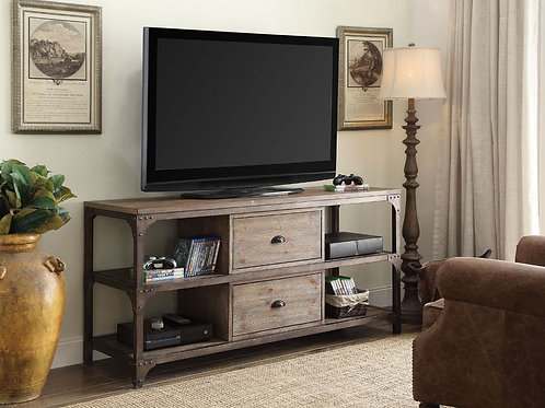 All Gorden Weathered Oak & Antique Silver TV Stand