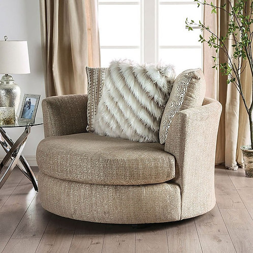 Imprad Avery Beige Chenille Glam Chair