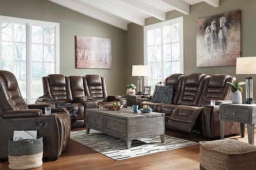 Game Zone Brown Power Reclining Sofa w. adj Headrest