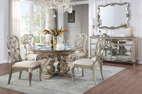 All 62210 ESTEBAN ANTIQUE CHAMPAGNE FINISH Round Dining Table