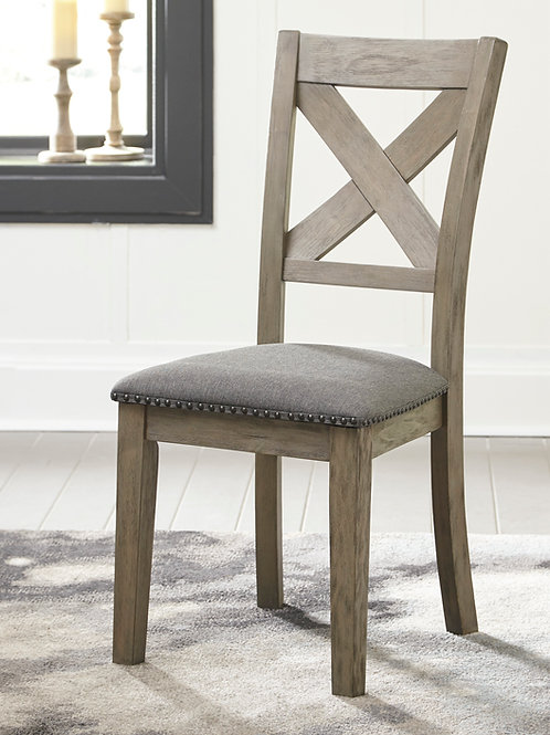 Aldwin Angel Gray Brushed Upholstered Side Chair w/Nailhead Trim