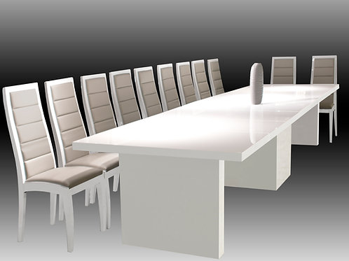 Largo Shar White Lacquer Dining Tab