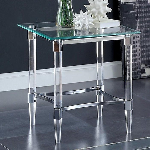 BEAUMARIS Imprad Acrylic Clear Chrome Glass Contemporary End Table