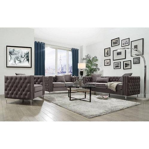 All Gillian II Sofa w/3 Pillows Dark Gray Velvet