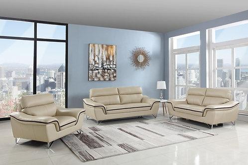 168 Geo Modern Leather Beige Sofa