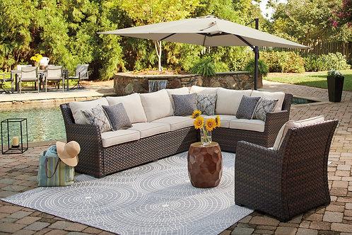 Easy Isle Angel Dark Brown/Beige Fabric Patio Sectional + Chair w/Cushions