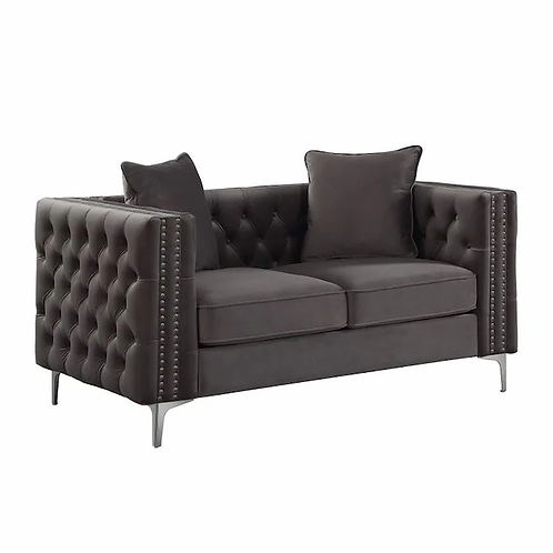 All Gillian II Loveseat w/2 Pillows Dark Gray Velvet
