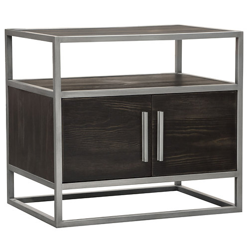 Empire Dream Brown and Silver Metal Frame Nightstand