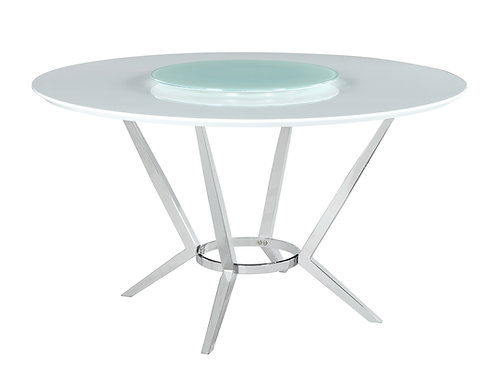 Abby Cali Round Dining Table With Lazy Susan White And Chrome