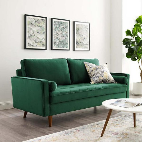 Valour Performance Velvet Sofa in Green