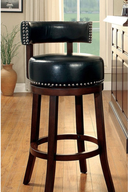 SHIRLEY Imprad 30'' Transitional Black Leatherette w/Nailhheads Barstool