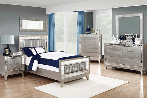 Leighton Cali Panel Bed with Mirrored Accents