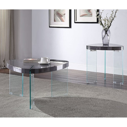Noland All Coffee Table Gray High Gloss & Clear Glass