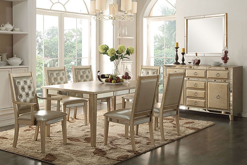 Voeville All Antique Gold Finish Dining Table