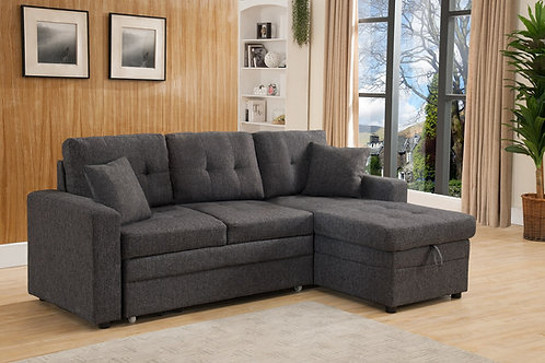 8008 Milt Reversible Pull Out Bed Sectional Gray