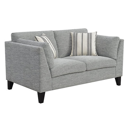 Emeral Elsbury Gray Fabric Loveseat w/2 Accent Pillows