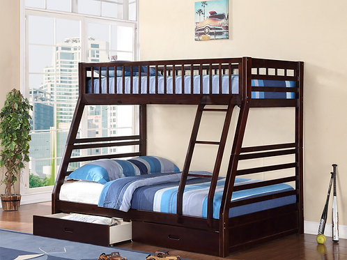 7588 Milt Twin/Full Espresso Bunk Bed with Storage Drawers