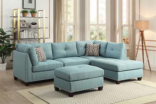 All Laurissa Sectional Sofa & Ottoman (2 Pillows) Light Teal Linen