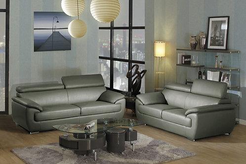 4571 Geo Gray Leather Sofa