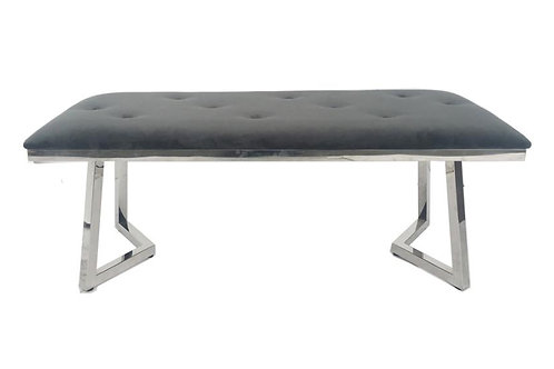 Beaufort Cali Grey Velvet Bench