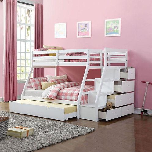 Jason All White Twin/Full Bunk Bed