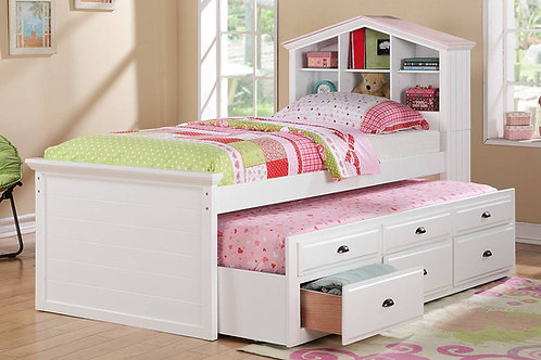 White Twin Size Bed w/ Trundle Port 9223