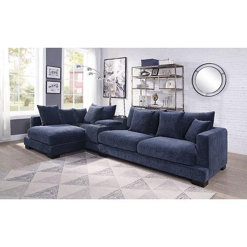 All Elika Blue Fabric Sectional Sofa with Console