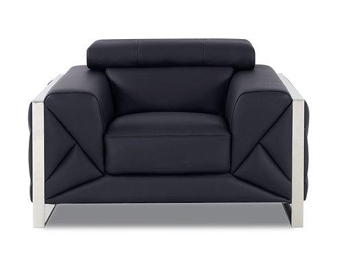 903 Geo Italian Leather Black Chair