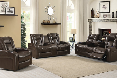 Delangelo Cali Power^2 Sofa With Drop-Down Table Brown