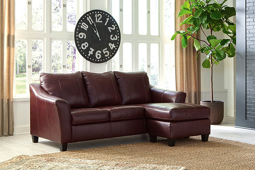 Fortney Angel Mahogany Leather Sofa Chaise