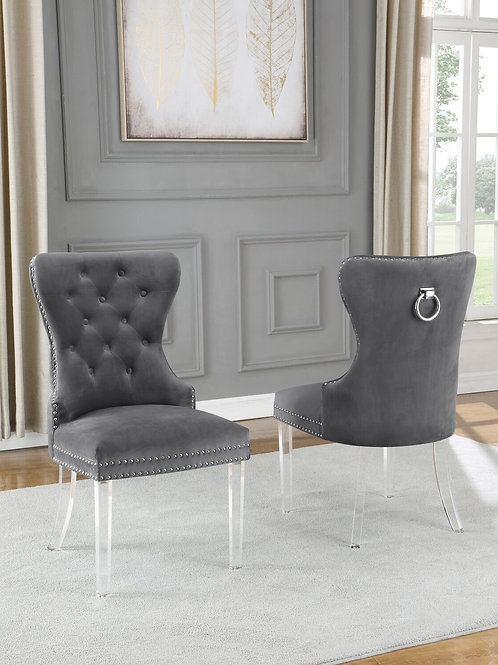 Best Q SC50 Velvet/Acrylic Gray Chair