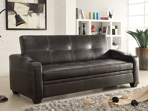 Caffery Henry Dark Brown Faux Leather Futon