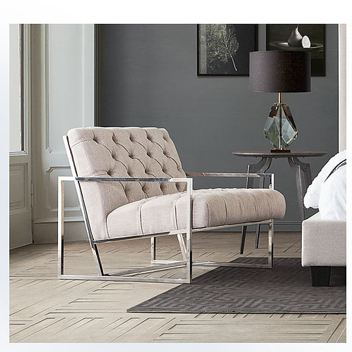 Lux Tufted Dream Cream Chair w/Polished Stainless Steel Base